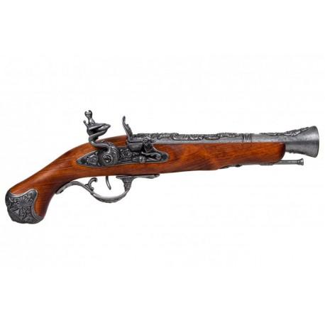 English Flintlock pistol, 18th. C. Silver