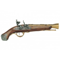 English Flintlock pistol, 18th. C. Gold