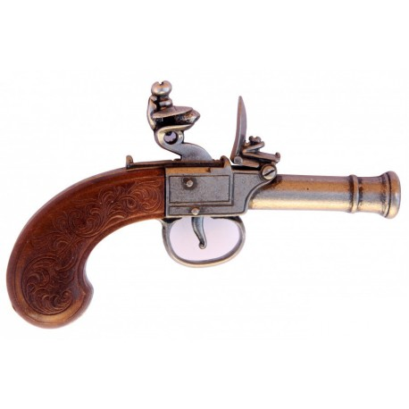English Flintlock Pistol, 18th C Silver