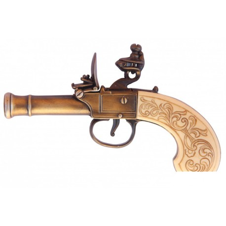 English Flintlock Pistol, 18th C gold