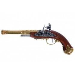 Pistola de chispa, India S.XVIII. (zurda). Oro viejo