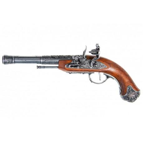 Flintlock Pistol India S.XVIII. (canhoto). prata