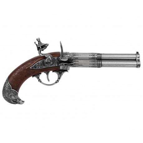 Pistola de 3 cañones giratorios, Francia S. XVIII