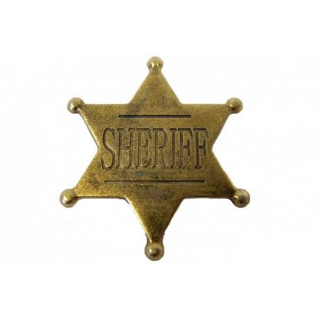 Placa de Sheriff de 6 pontas dourada