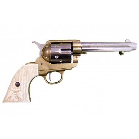 "45 caliber Peacemaker revolver 5½"". ivory grips"