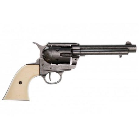 "45 caliber Peacemaker revolver 5½"". Brass. ivory grips"