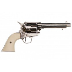 "45 caliber Peacemaker revolver 5½"". Niquel finish"