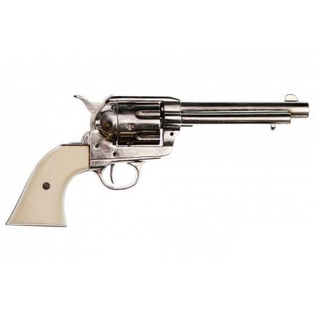 """Revólver Colt Peacemaker calibre 45 5½"""". Niquel. punho marfim"""