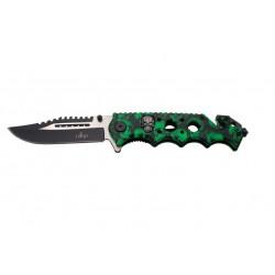 Navaja asistida Third 17141V mango de aluminio con recubrimiento camo patrón de calaveras verde. Con clip