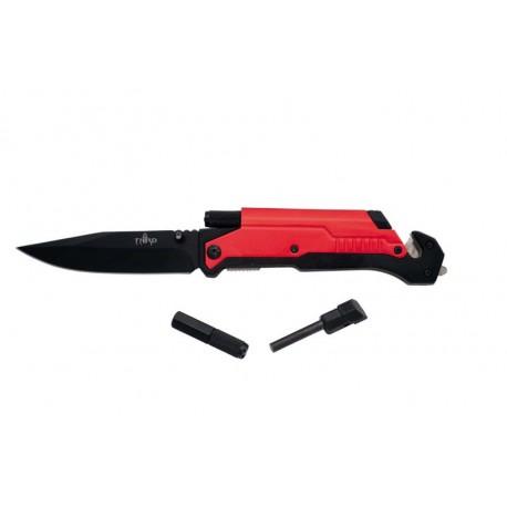 Navaja asistida de rescate Third 17576R, mango de aluminio rojo. Con clip y caja de presentación.