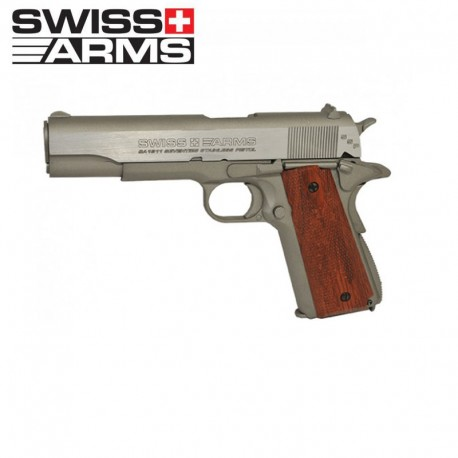 Swiss Arms P1911 Pistola Full Metal Blow Back Plata/madera 4,5MM CO2