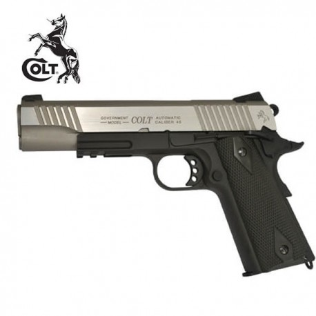 Colt 1911 Rail Gun Pistola 6mm Full Metal Blowback CO2 Plata/Negro