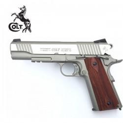 Colt 1911 Rail Gun Pistola 6mm Full Metal Blowback CO2 Niquel/Madera