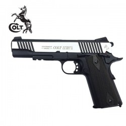 Colt M1911 Rail Gun Pistola 6MM CO2 Preto - Prata Full Metal Blow Back