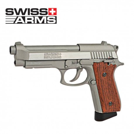 Swiss Arms 92 Pistola 4.5MM CO2 Full Metal Blow Back Plata/Madera