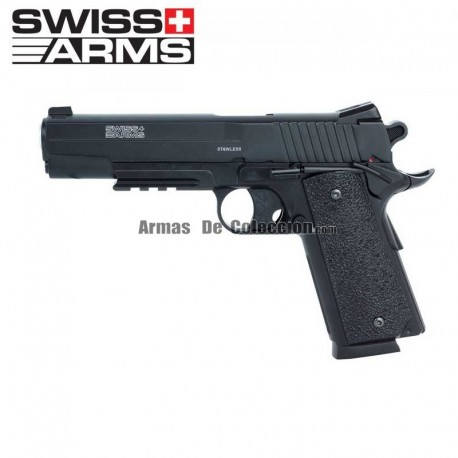 SWISS ARMS 1911 MATCH 4.5 mm CO2 CORREDIÇA METALICA