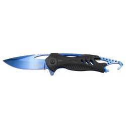 Navaja asistida Third K2794A, mango de aluminio negro, hoja de acero inox de 8.5 cm bañada en titanio azul brillante