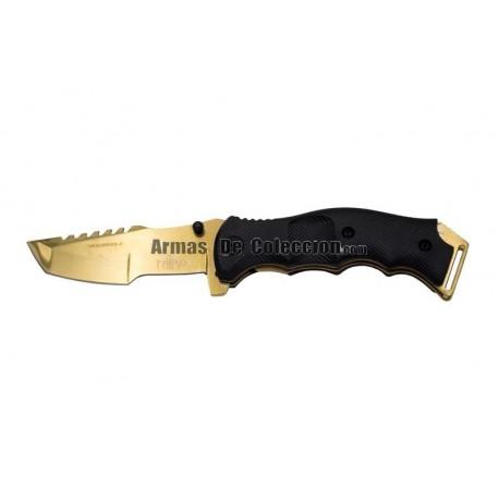 Navaja asistida Third 21046D, mango de ABS negro con textura, hoja de acero 420 de 11.75 cm.
