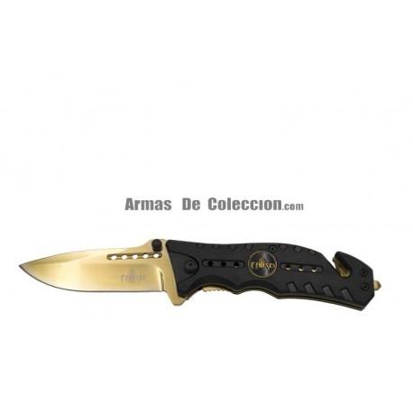 Navaja de seguridad asistida Third K2769D, Mango de ABS Negro y Hoja de Acero 420 de 10.1 cm.