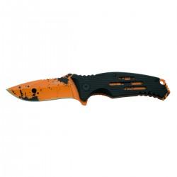 Navaja asistida Third K0805, mango de aluminio negro con agujeros, liners y hoja naranjas con gotas negras efecto sangre.