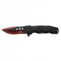 Navaja asistida Third Yankee K2796RDS, mango de aluminio negro con agujeros, hoja de acero inox de 10.5 cm