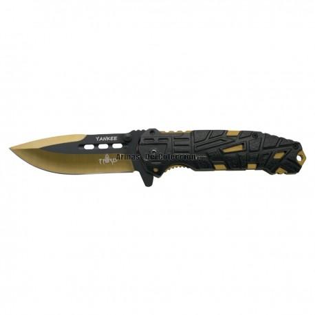 Navaja asistida Third Yankee K2796YLS, mango de alumino negro con agujeros, hoja de acero inox de 10.5 cm