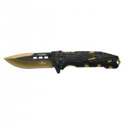 Navaja asistida Third Yankee K2796YL, mango de alumino negro con agujeros, hoja de acero inox de 10.5 cm