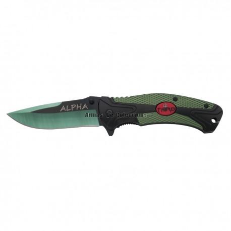 Navaja Asistida Third Alpha 60221V, mango de aluminio bicolor negro y verde con escudo Third en soft plastic.