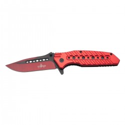 Navaja asistida Third 10344R, mango de aluminio rojo con agujeros, hoja de acero inox negra y anodizada en rojo de 10.5 cm