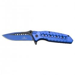 Navaja asistida Third 10344A, mango de aluminio azul con agujeros, hoja de acero inox negra y anodizada en azul de 10.5 cm