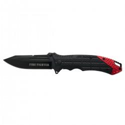 Navaja asistida Third K2777RD, mango de ABS negro con detalle rojo en aluminio, hoja de acero inox de 9.5 cm negra.