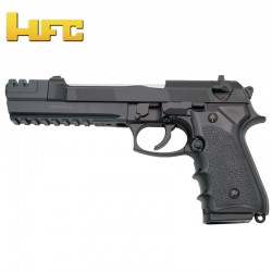 HFC Long Beretta 92 Long Barrel Cannon - Black - Heavy Spring Pistol - 6 mm.
