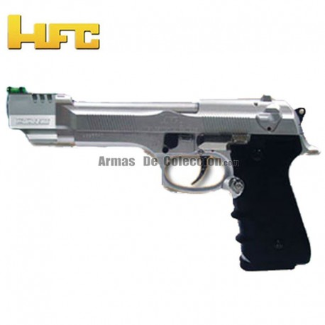 HFC Cañón largo Tipo Beretta 92 Long Barrel - Negra - Pistola Muelle Pesada - 6 mm.