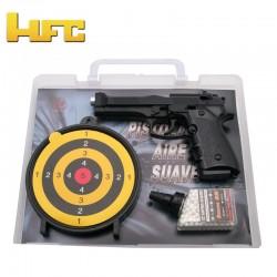 SET MALETÍN - GAFAS - BOLAS - PISTOLA Tipo Beretta 92FS Negra - Muelle Pesada 6MM