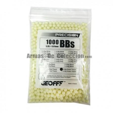 0.20 6mm Bolas Geoffs Precision trazadora verde amarillo1000 bbs