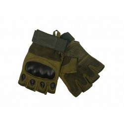 Protective gloves Airsoft Reinforcements Knuckles Fingers cut KEVLAR Green