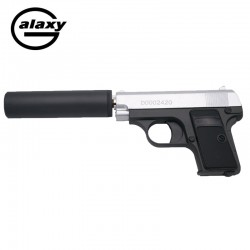 Galaxy tipo Colt 25 con estabilizador -FULL METAL- bicolor - Pistola Muelle - 6 mm