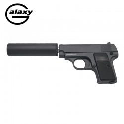 Galaxy tipo Colt 25 com estabilizador - METAL CHEIO - Preto - Pistola de molas - 6 mm