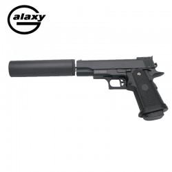 HI CAPA mini con estabilizador -FULL METAL- Negra - Pistola Muelle - 6 mm