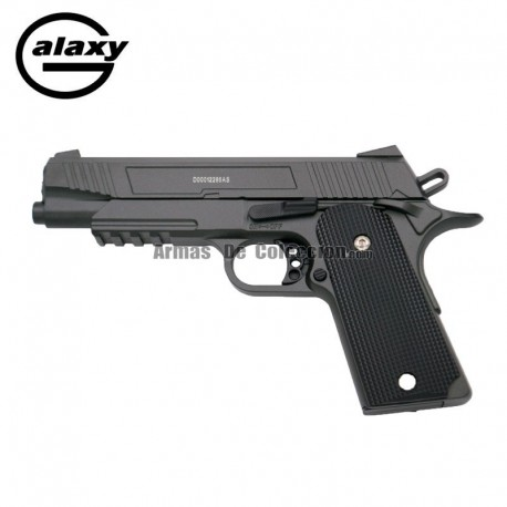 Galaxy G3 - FULL METAL tipo COLT 1911 RAIL GUN - Pistola Muelle - 6 mm