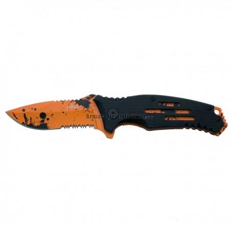 Navaja asistida Third K0805S, mango de aluminio negro con agujeros, liners y hoja naranjas con gotas negras efecto sangre.