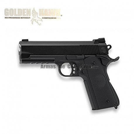 Golden Hawk Tipo 1911 Rail - Negra - METAL - Pistola muelle - 6mm