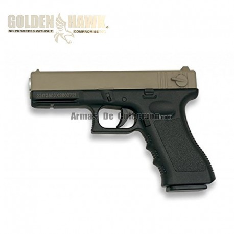 Golden Hawk Tipo Glock - TAN-Negra - METAL - Pistola muelle - 6mm