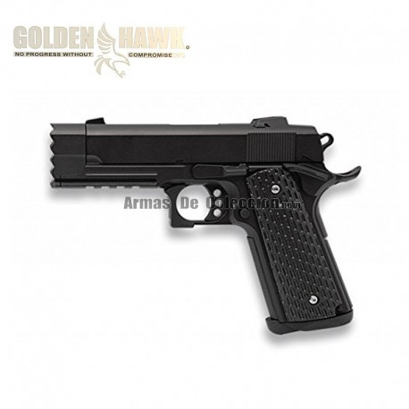 Golden Hawk Tipo 1911 Rail - Negra - METAL - Pistola muelle - 6mm