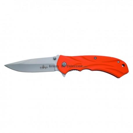 Navaja asistida Third K2451L, mango de aluminio recubierto de goma naranja, hoja de acero inox de 10 cm acabado satinado
