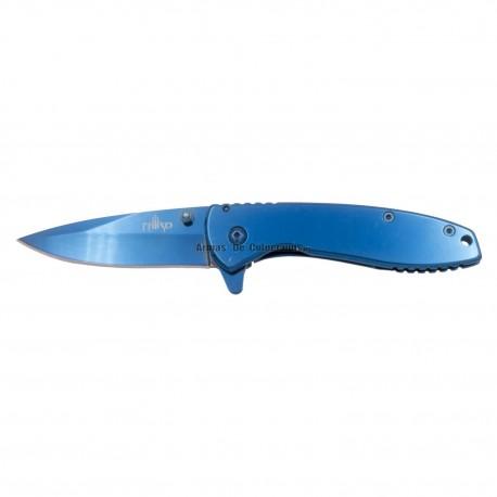 Navaja asistida Third K1918, Mango de acero bañado en titanio azul acabado espejo, Hoja de Acero