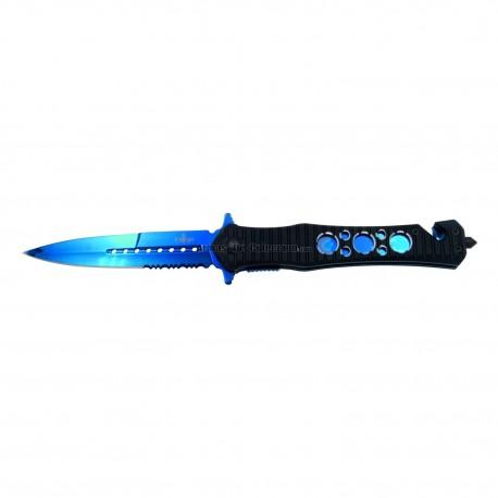 Navaja de seguridad asistida Third H0815A, Mango de Aluminio negro, hoja clips y liners bañandos en titanio azul. Hoja de Acero.