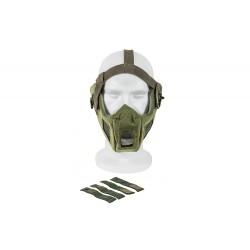 Máscara de malha de aço de rosto completo c / adaptador de capacete rápido (cor verde)