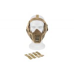 Máscara de malha de aço de rosto completo c / adaptador de capacete rápido (cor marrom)