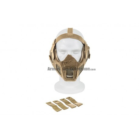 Full Face Steel Mesh Mask w/Fast Helmet Adapter (Tan Color)